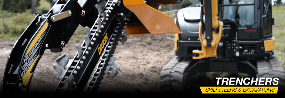 Digga North America - Trenchers for Mini Loaders and Walk-behinds, as well as skid steer loaders, excavators, and machines up to 8 tons.